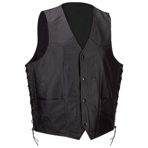 Diamond Plate™ Mens Solid Blk Leather VEST-3X