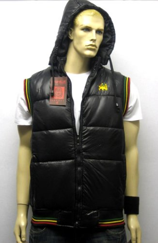 Raw Blue Lion of Judah Hooded Gilet Body Warmer Puffer Vest Rasta Jacket in Black, Size X-Large