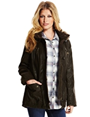Indigo Collection Pure Cotton Hooded Faux Fur Trim Waxy Parka