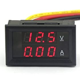 RioRand 2in1 4.5-30V/10A Digital Voltage Detector DC Current Volt Amp Meter Red LED 12 Volt Tester, 3-wires,Build-in Shunt