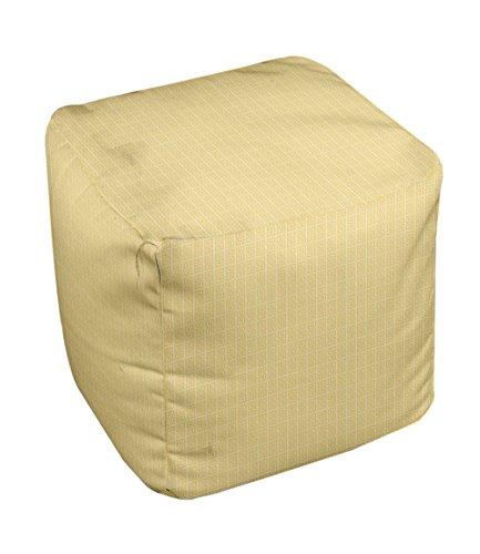 E by design Geometric Pouf, 13-Inch, Lemon White