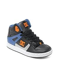Dc Black-Blue-White Rebound Kids Hi Top Shoe (Kids, Black)
