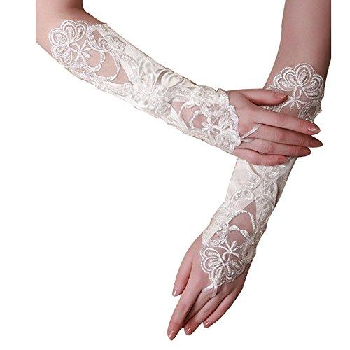 santfe Exquisite Fingerlose Flower Lace Perle weiß Braut Handschuhe für Hochzeit Party 3Farben Gr. 30 cm, schwarz