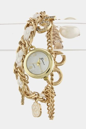 Chic Chelsea Rope Chain Charms Watch (White/Gold)