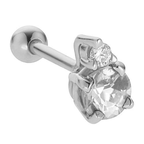 14K White Gold 3.5mm Cubic Zirconia Stud Cartilage Earring