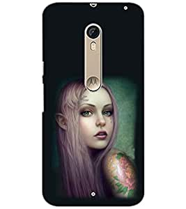 PrintDhaba TATTOO GIRL D-6138 Back Case Cover for MOTOROLA MOTO X PURE EDITION (Multi-Coloured)