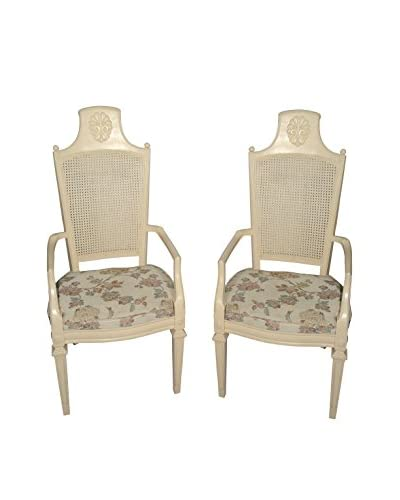 Uptown Down Set of 2 Found Chairs with Floral Seat Covers, Beige/Lavender/White