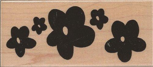 Pop Flower Border Wood Mounted Rubber Stamp (N172)