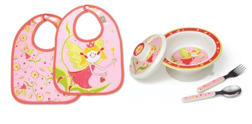 Sugarbooger Covered Bowl, Silverware, and 2 Bibs Set-Fairies