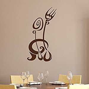 Fork spoon wall decals kitchen vinyl decal family sticker for Dining room wall art amazon