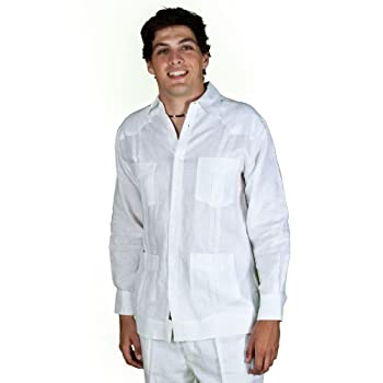 100% linen long sleeve guayabera by cubavera