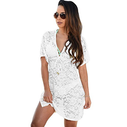 meinice trasparente Lace Cover Up Dress White Medium
