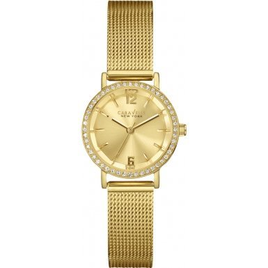 Caravelle New York 44L157 Ladies Laura Gold Plated Steel Bracelet Watch