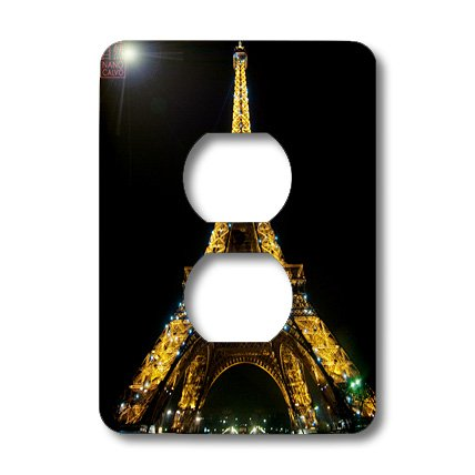 Lsp_107793_6 Nano Calvo Paris - Eiffel Tower Front View, Global Icon Monument Of France, Illuminated At Night, Paris - Light Switch Covers - 2 Plug Outlet Cover