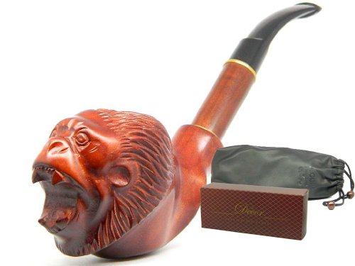 "Deluxe Tobacco Smoking pipe ""Angry Monkey"" Carved of Pear wood, Great Collectible + Pouch"