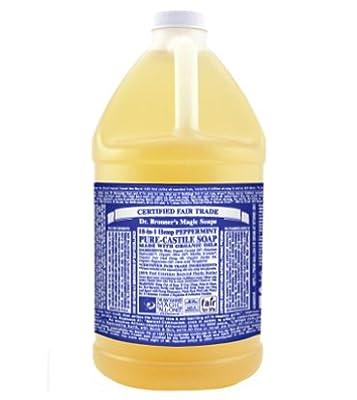Dr. Bronner's, Pure-Castile Liquid Soap, Peppermint Hemp, 0.5 Gallons