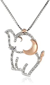 XPY Sterling Silver and 14k Rose Gold Diamond Elephant Pendant Necklace, 18""