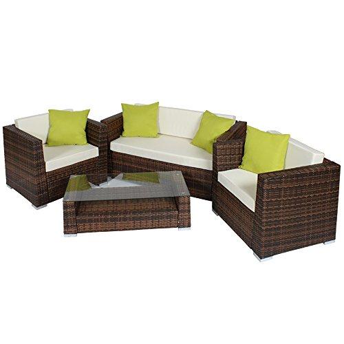 Rustikale Gartenmobel Aus Holz Ungarn : TecTake Hochwertige Alu Luxus Lounge Set PolyRattan Sitzgruppe