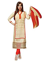 Ayesha Designer Cream Color Embroided Dress
