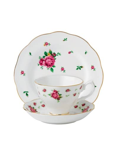 Royal Albert New Country Roses 3-Piece Teacup Set, White