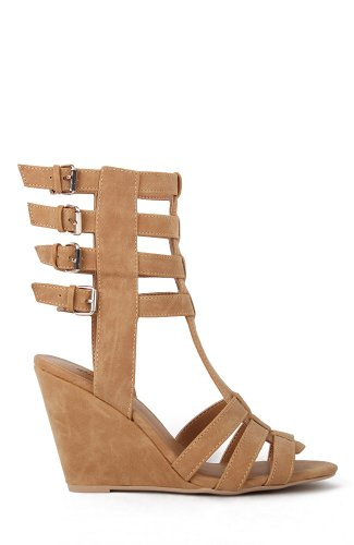 Qupid Flix-57 Strappy Buckled Gladiator Wedge Sandal - Camel PU