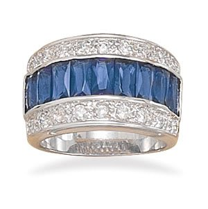 Sterling Silver Rhodium Plated Blue Baguette and Round Clear CZ Ring / Size 8