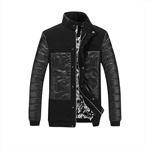 Real Spark(TM) Men Stand Collar Warm Faux Leather Sleeve Casual Coat Jacket Black L