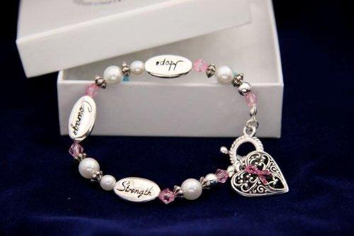 Pink Ribbon Bracelet-Hope, Strength, Courage (18 Bracelets)