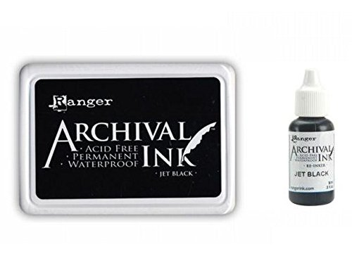 Ranger Archival Jet Black Permanent Dye Ink Stamp Pad & Re-Inker Refill (Dye Based Stamp Pad compare prices)
