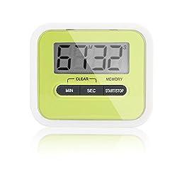 Electronic Digital Kitchen Timer, Iwotou Large LCD Display, Loud Alarm, Countup&Countdown kitchen Timer (green)