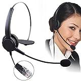 ELEGIANT RJ11 片耳コールセンター用ヘッドセット電話機対応 業務用ヘッドセットRJ9クリスタルヘッド、電話カウンセリングサービス、通信事業者、企業330°回転可能なマイクボール 11