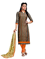 PS Enterprise Grey Chanderi Cotton Embroidery Work Unstitched Dress Material With Dupatta - 8DMK040