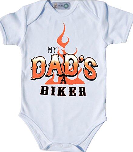 USA motivo My Dad' a Biker Body Bio-Body a maniche corte per motociclisti Bebè Nero bianco 50-56