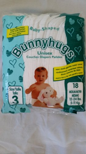 Disposable Baby Diapers Great Value Size 3 -144 count. Super absorbent diapers keeps babies dry and comfortable. Great value. Superb inner leg cuff leak control. Bunny Hugs has Green packaging.