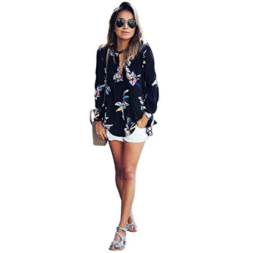 [Long Sleeve Chiffon JUNKE Womens Floral Printing Blouse Tops Loose T Shirt (XL, Black)] (Pirate Coat For Sale)