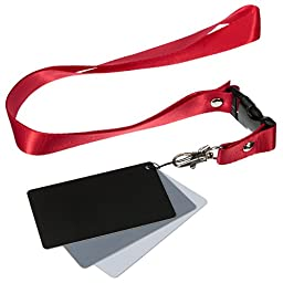 Yosoo 3 Card Set - White Balance Card 18% Gray Card with Premium Lanyard Used for Video,DSLR and Film Photography