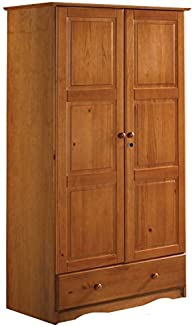 100% Solid Wood Universal Wardrobe/Armoire/Closet by Palace Imports, Honey Pine Color, 40″w x 72″h x…