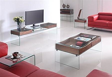 Mesa de centro cristal curvado, cajones, 120x60 cm