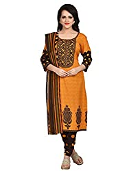 Shonaya Yellow & Brown Colour Poly Cotton Printed Unstitched Dress Material