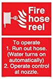 Fire hose reel To operate 1. Run out hose. (Water turns on automatically) 2. Ope - Fire Equipment Sign