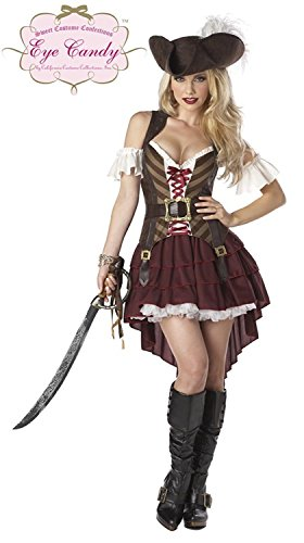 [McDonalnd chic Women's Sexy Swashbuckler Pirate Costume BurgundyX-Small] (Spotlight Womens Pirate Costume)