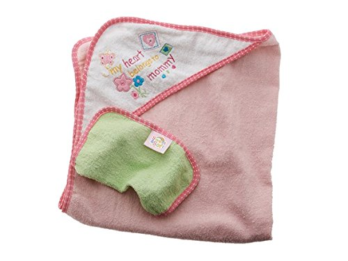 Pink 'My Heart Belongs to Mommy' Hooded Towel with Washcloth Set