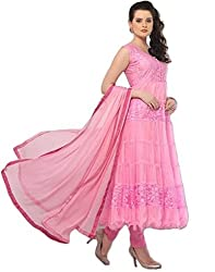 fashion on sky- pink brasso anarkali suit