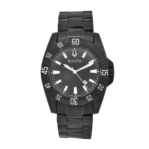 Bulova Men's 65B114 Black Stainless Steel Black Dial Watch