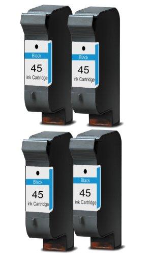 Merotoner® - 4 x Druckerpatrone für HP 45 HP Deskjet 930C 950C 959C 960C 970CXI 980CXI 990CXI 995C 1180C 1220C 1220C PS 1220CSE 1280 6120 6122 6127 9300