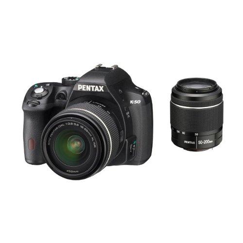 Pentax-K-50-Fotocamera-e-Obiettivo-DA-L-18-55-WR-e-DA-L-50-200mm-WR-Sensore-CMOS-APS-C-da-1649-Megapixel-Display-LCD-da-3-Video-Full-HD-Nero