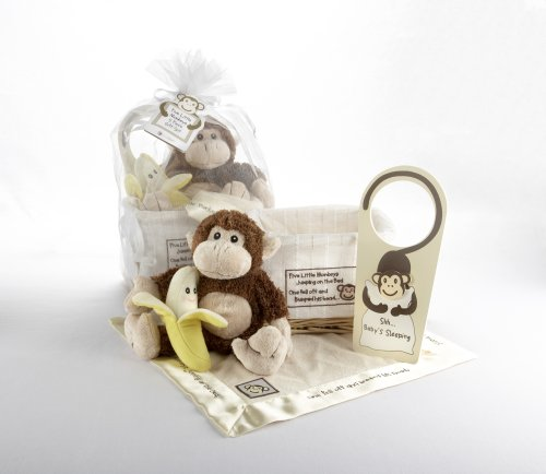 Imagen de Bebé Aspen Five Little Monkeys Set de regalo con la cesta del recuerdo