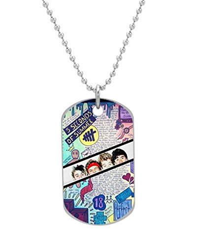 5 Seconds of Summer on Pinterest Dog Tag (Bigger Size) Pet Tag Neck Chain Key Chain Aluminum Dog Tag Dimensions 1.3X2.2X0.1 inches ,Comes with 30″ inches beads chain
