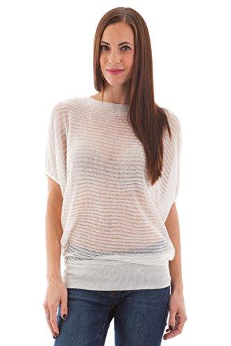 2Luv Women'S Dolman Sleeve Sheer Horizontal Stripes Top White L (Tp61020)