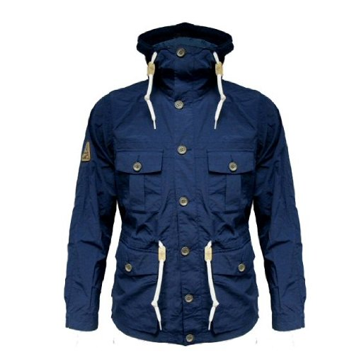 Addict Men's Lightweight Slim Fit Navy Mountain Range Hooded Jacket Size 2XL